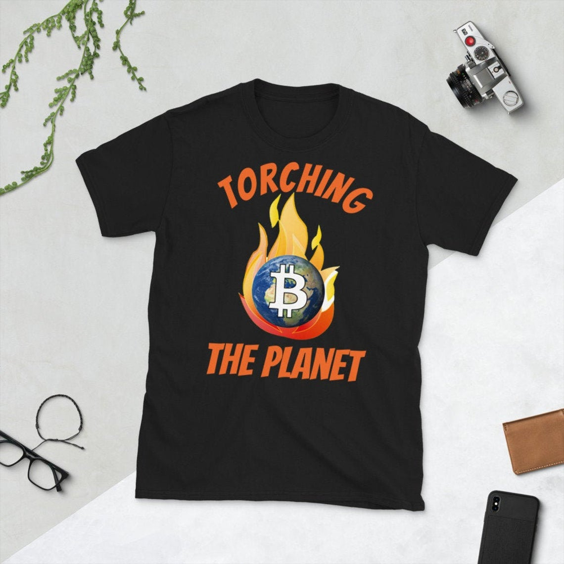 Torching the Planet for Fun and Profit Bitcoin Short-Sleeve Unisex T-Shirt - Now Available in the Shop - 5 Different Color Options